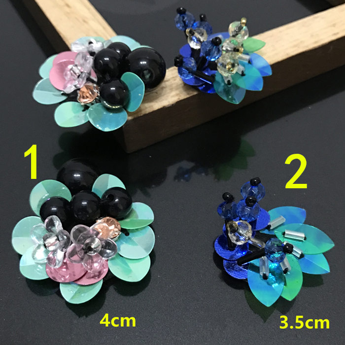 10Pcs  Flower Beaded Patch for Clothing Sewing on Patch Beading Applique Clothes Decoration Patch DIY Accessories,YN516