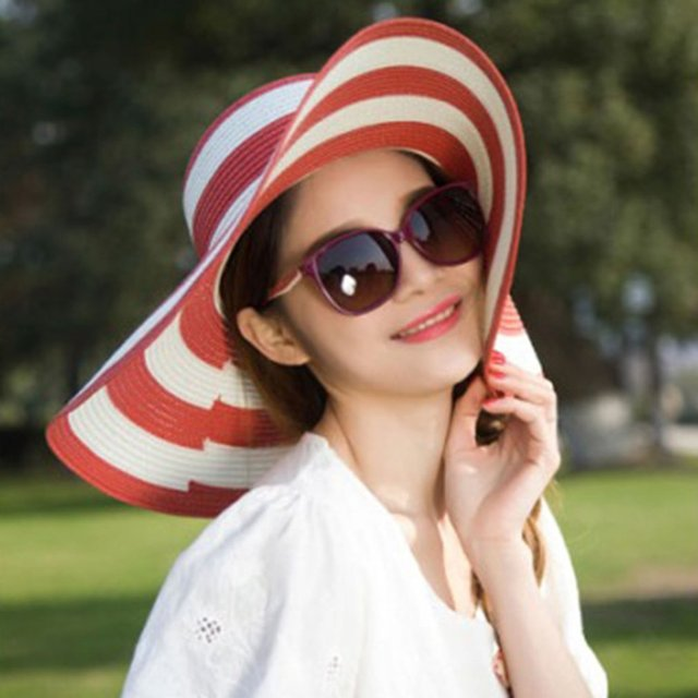 Summer Sun Hat For Women Straw Wide Brim Stripe Printed Caps Lady Girls Beach Vintage Floppy Cap UV Protection New