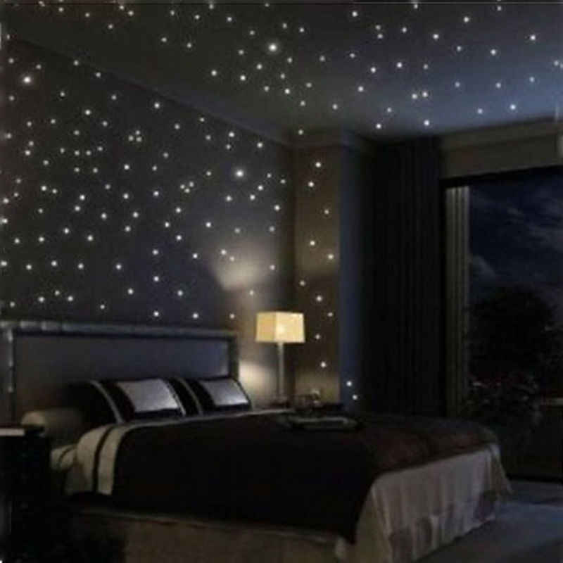 100pcs Wall Sticker Decal Glow In The Dark Baby Kids Bedroom Home Decor Color Stars Luminous Fluorescent Home Decorating Sticker