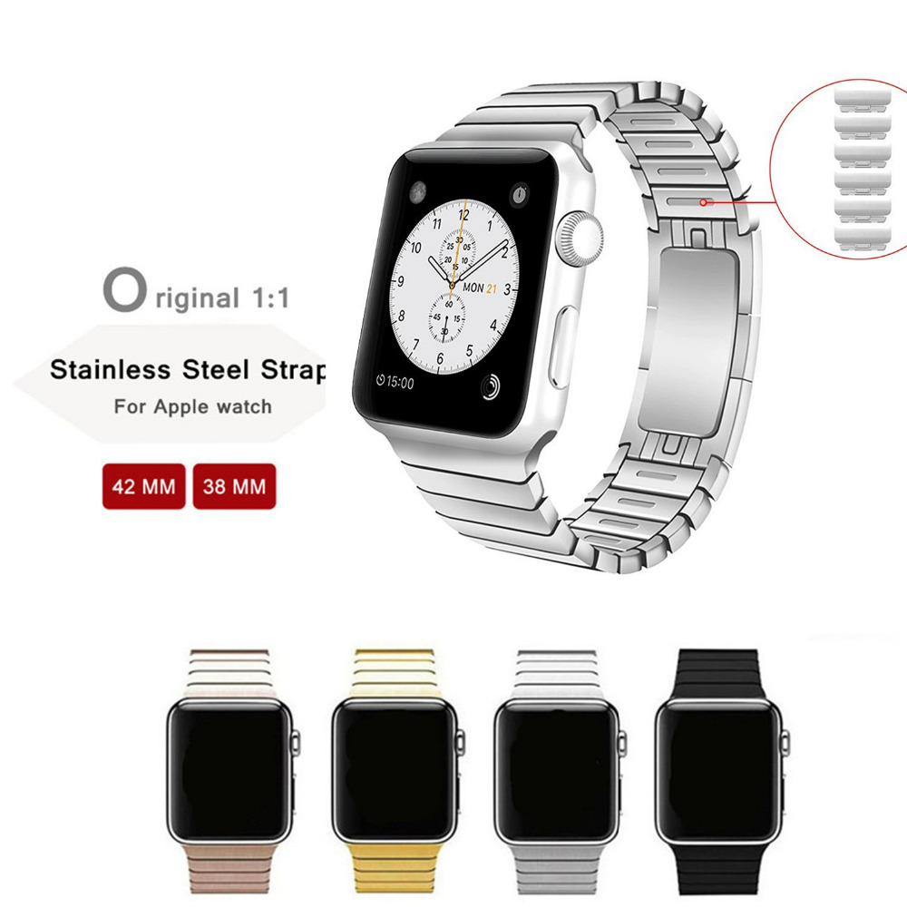 ФОТО original 1:1 Removable 316L Stainless Steel strap link bracelet & Luxury stainless Metal band for apple watch 38 42mm