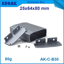 4pcs/lot aluminum extrusion profiles wall mounted switch box for diy pcb 25*64*80mm
