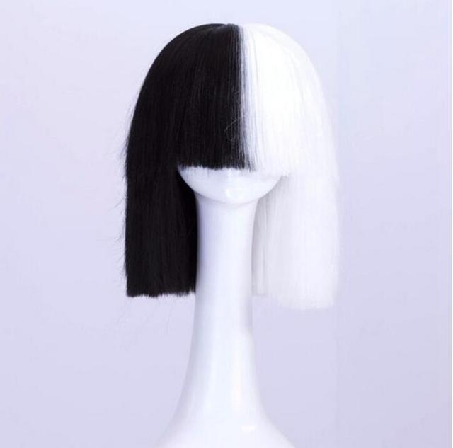 Sia Wig This Is Acting Heat Resistant Hair Half Black Light White Covers Her