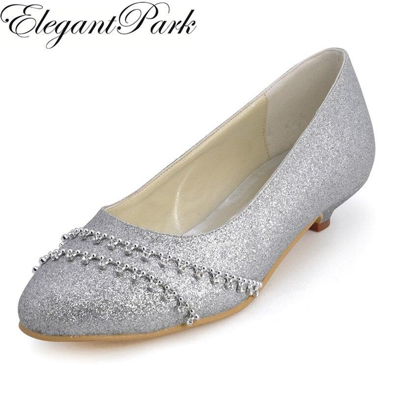 Shoes Woman B129B Silver Closed Toe Rhinestone Low Heel Glitter Bride Bridesmaids Evening Party Wedding Pumps silver st 11 129 low 7 6 19 3 см 1091481