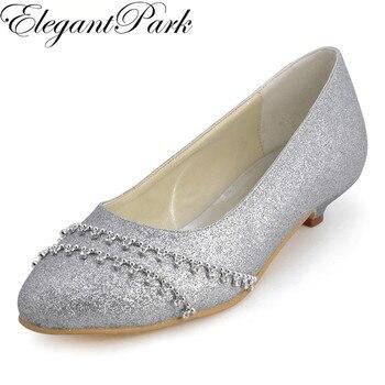 Shoes Woman B129B Silver Closed Toe Rhinestone Low Heel Glitter Bride Bridesmaids Evening Party Wedding Pumps