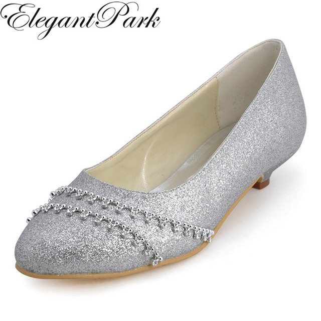 Shoes Woman B129B Silver Closed Toe Rhinestone Low Heel Glitter ...