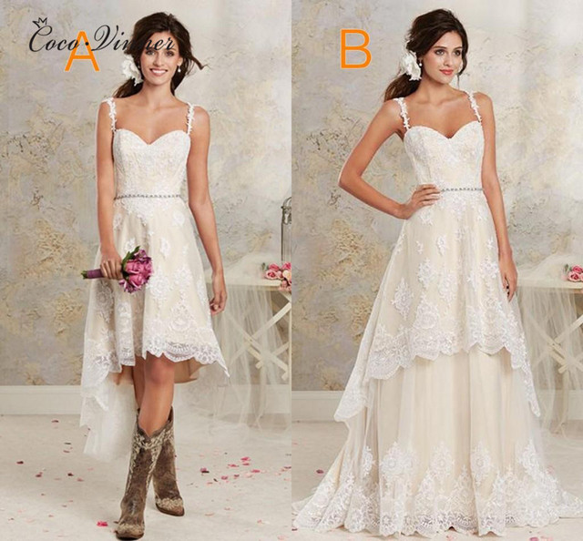 C V Detachable Skirt Two In One Embroidery Vintage Wedding Dress 2018 A Line Sweep Train Straps