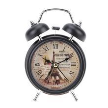 Reloj despertador de campana Vintage y luz nocturna silencioso, no hace tictac Flower + torre de hierro reloj de mesa escritorio dormitorio Oficina Relojes decoración del hogar