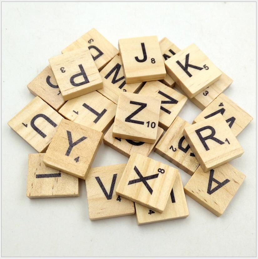 100pcs/set Wooden Puzzle Box Alphabet Scrabble Tiles Letters Jigsaw puzzle squares For Crafts Wood toys for Children boys girls