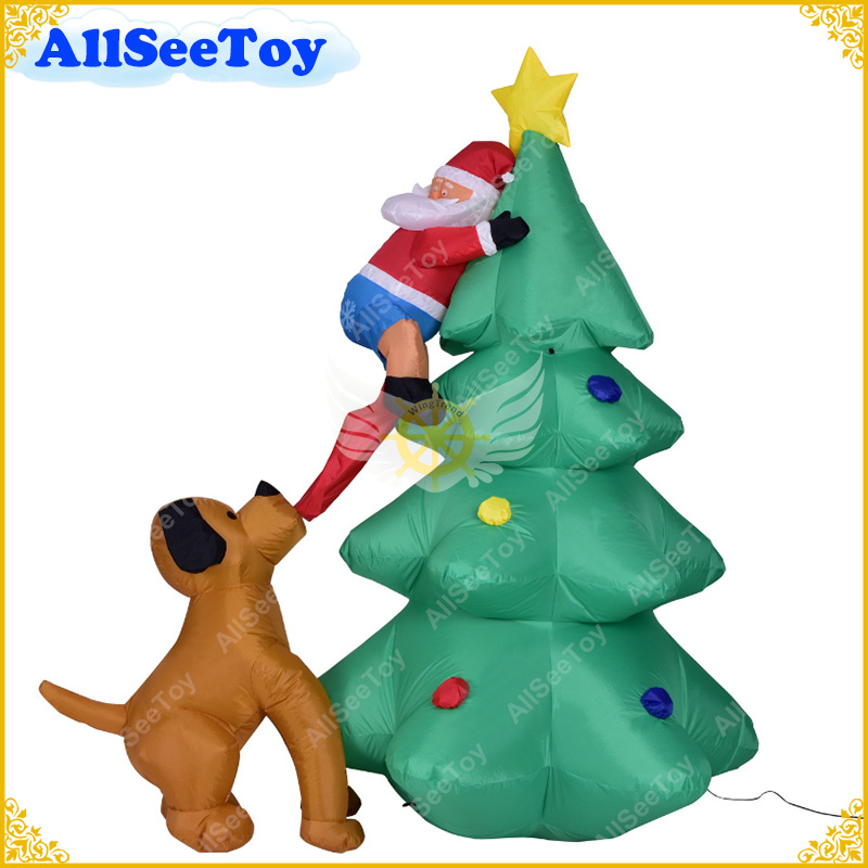 Giant inflatable Christmas Tree Puppy bites Santa Claus Climbing tree Blow Up Fun Toys Christmas Garden Decoration Prop