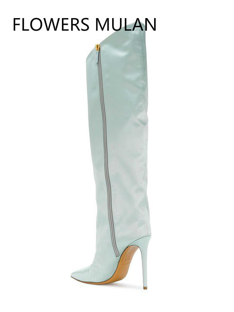 2018Fashion Show Lady Dress Boots Thin High Heel Half Knee High Boots Green Mirror Leather Women Boots Pointed Toe Work Boots цена