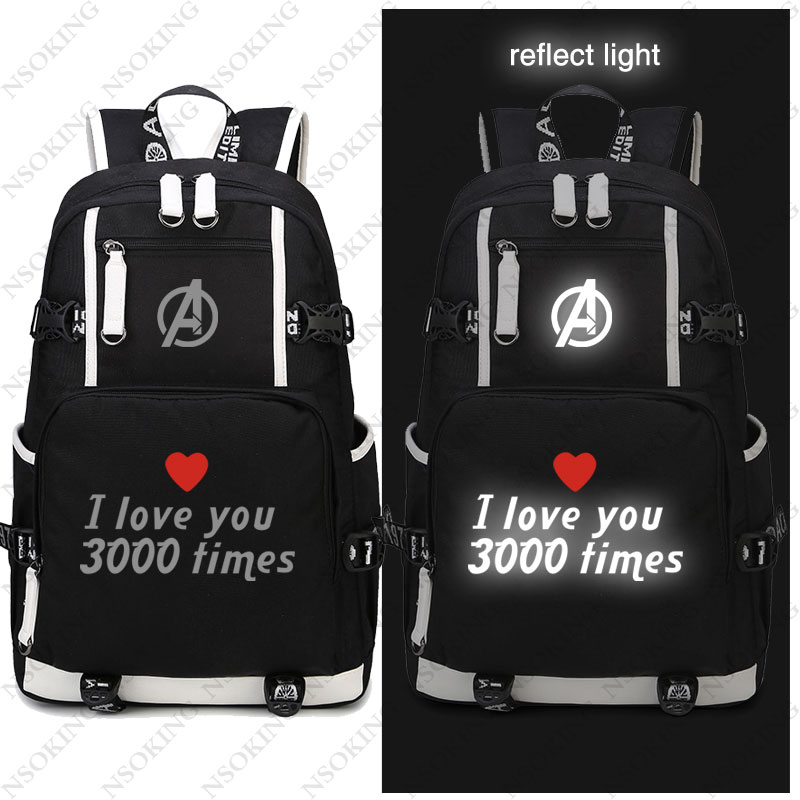 Hot Anime Avengers 4 Endgame Iron Man Backpack Cosplay reflect light I love you U 3000
