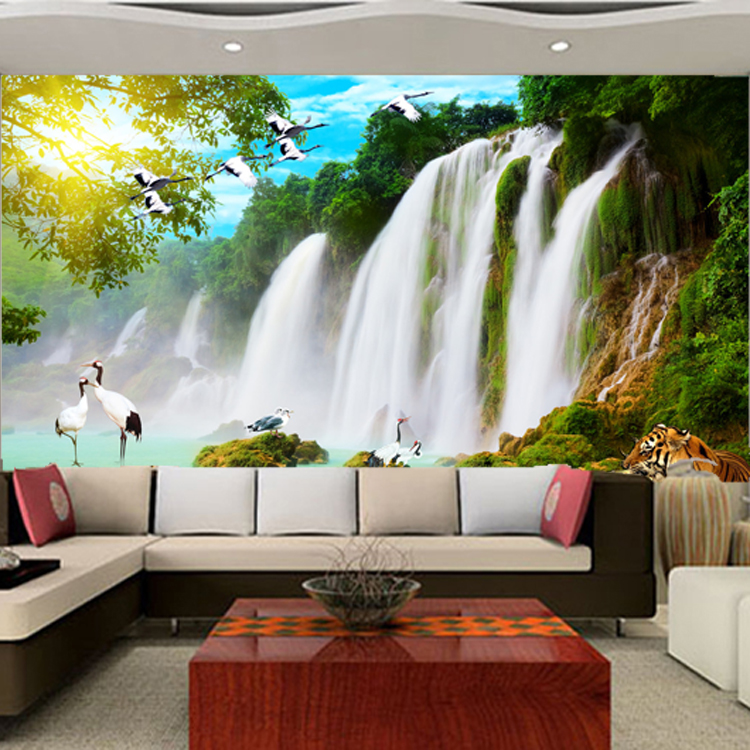 custom large Mural wall paper 3d waterfall wallpaper bedroom TV sofa background landscape wall stickers home decor Chinese bird waterfall forest mural wallpaper классическая гостиная home decor дверная наклейка пвх водонепроницаемая самоклеящаяся наклейка 70см x 200см