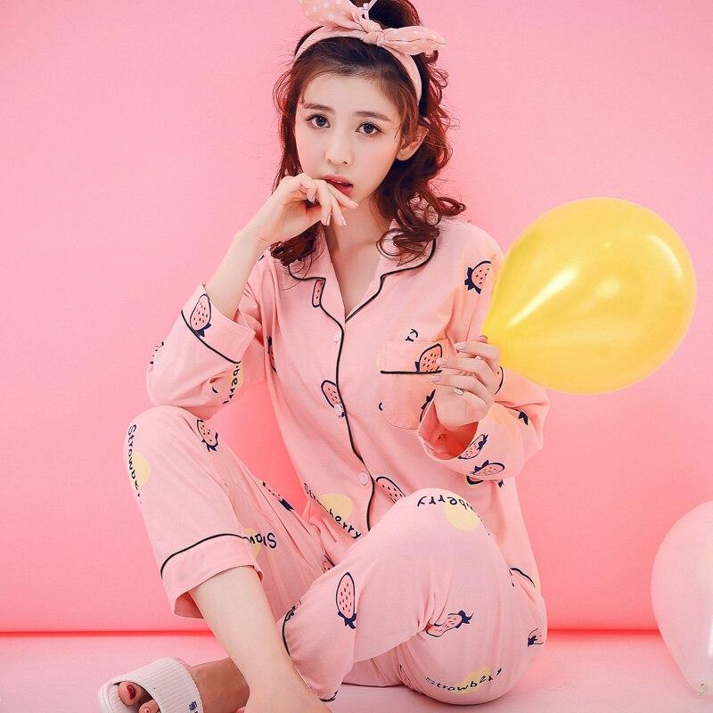 0e6e29074e434 Femmes vêtements de nuit 2019 nouveau printemps et automne coton  adolescente à manches longues pyjama ensemble de mode plus la taille  femelle salon ensemble