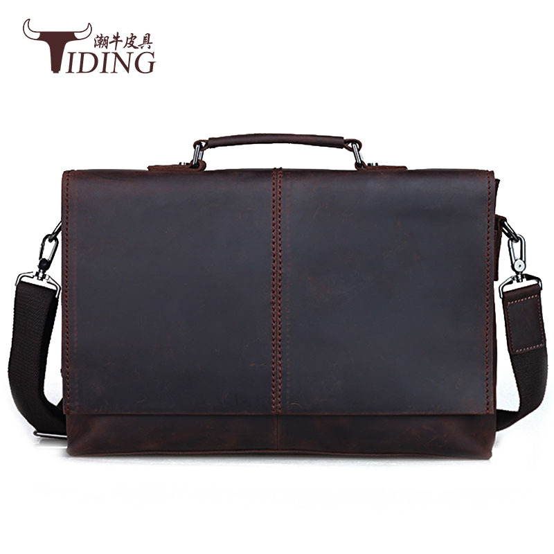 vintage leather man handbags 2018 leather genuine business messenger bag 15 quot big laptop file handbag crazy horse leather brands in Briefcases from Luggage amp Bags