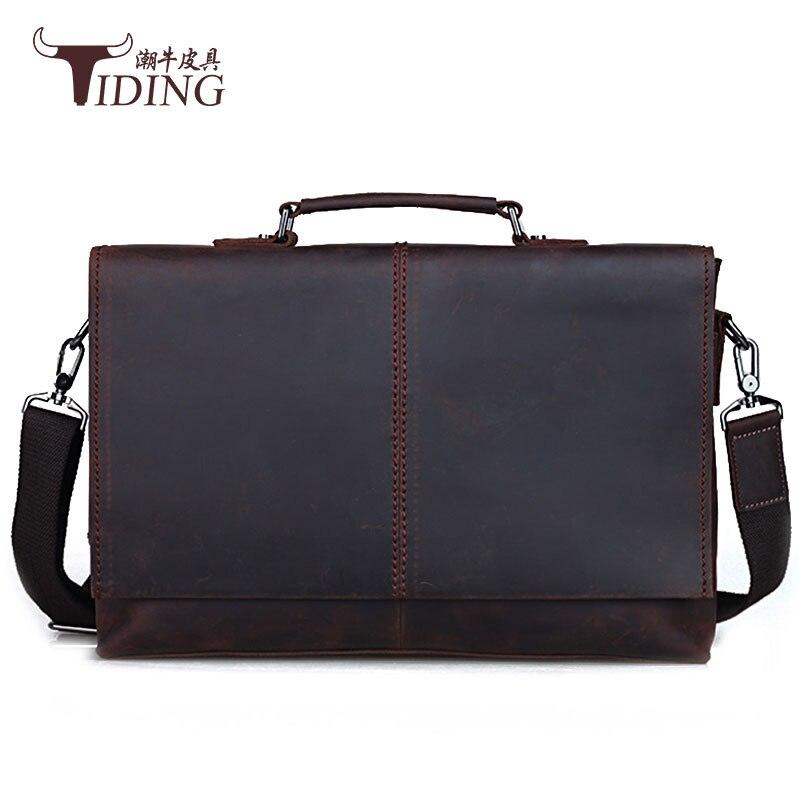 Vintage Leather Man Handbags 2018 Leather Genuine Business Messenger Bag 15