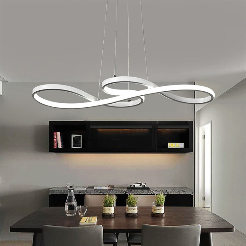 Lampe de pendentif LED moderne noir/blanc nordique suspension Note créative suspension pour barre Table cuisine île salle à manger - 5