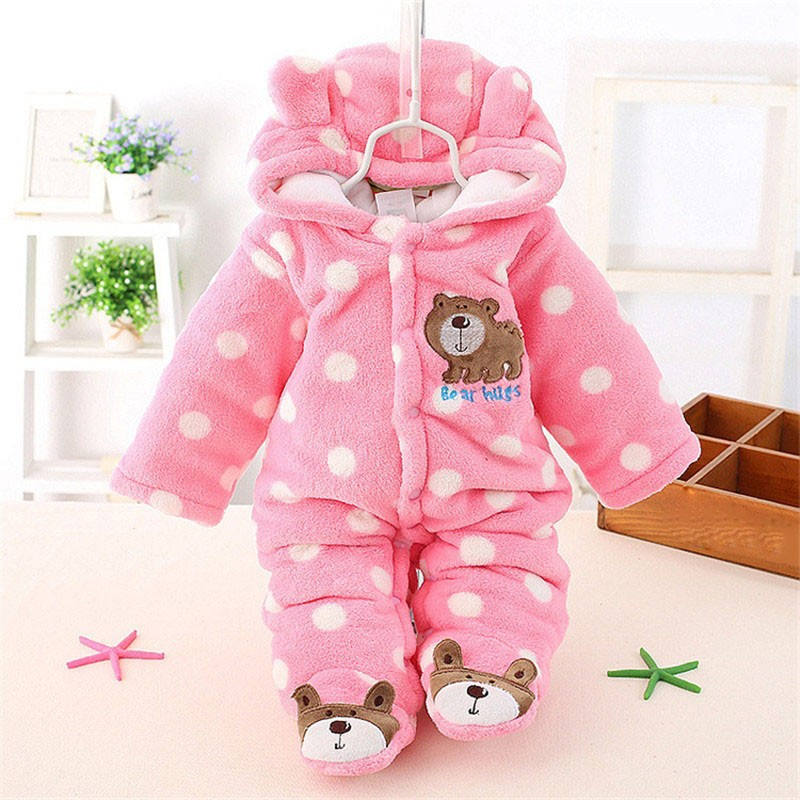 Unisex Cute Bear Baby Rompers Winter Thicken Baby Clothing Hooded Bodysuit for Babies 3 Colors for New Born Baby Romper CL0430 (10)