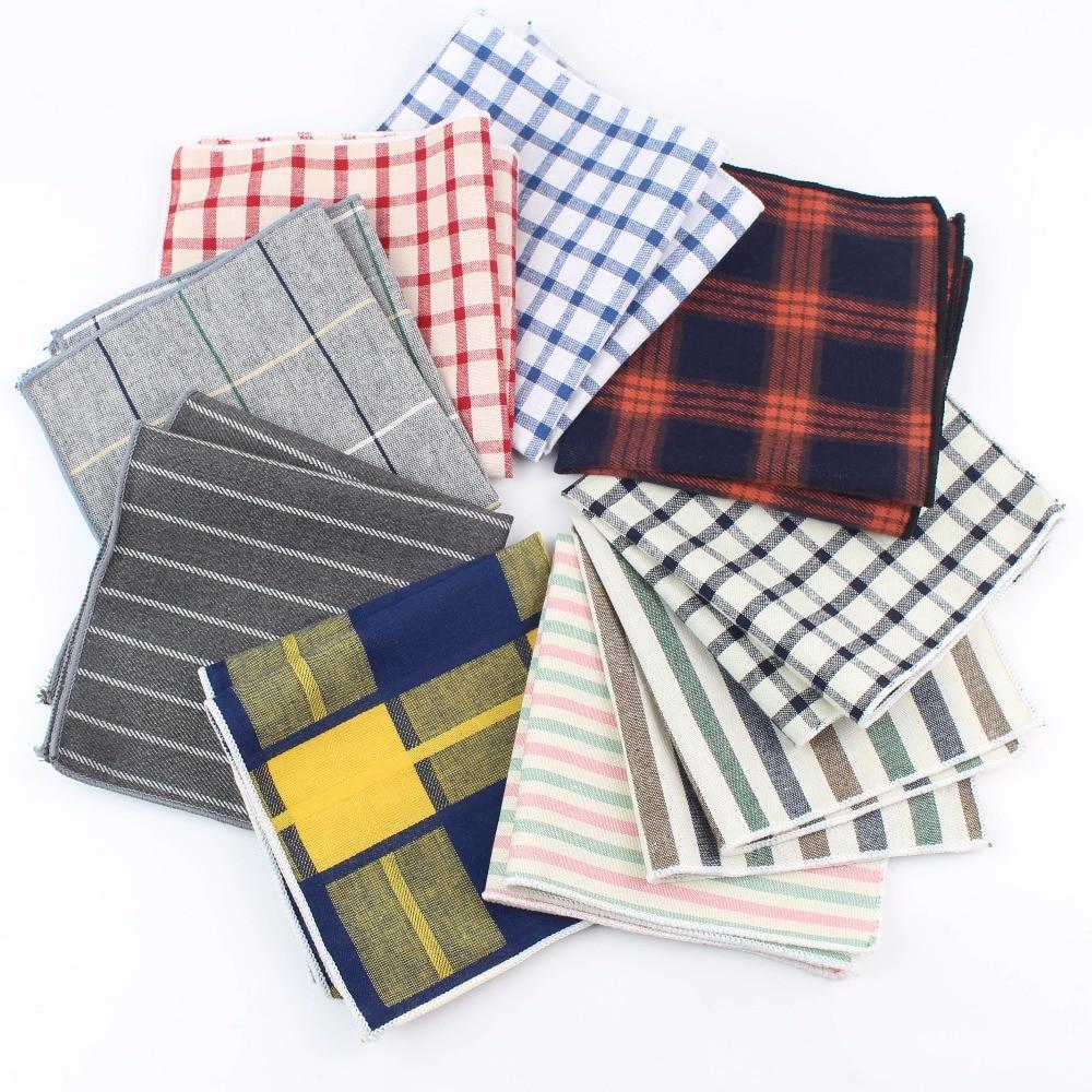 Women Cotton Handkerchiefs Woven Colorful Printing Plaid Pocket Square Mens Casual Rainbow Square Pockets Handkerchief Towels