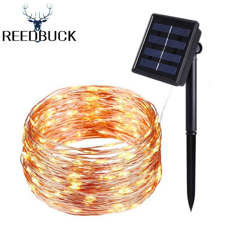Copper Wire Outdoor Solar Powered LED String Lights 5M 10M 20M Waterproof Garland For Garden Wedding Christmas Landscape Decor