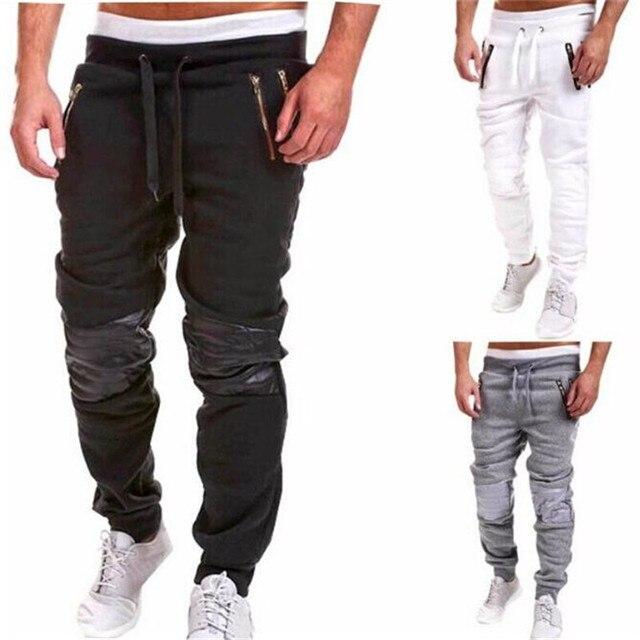 Mens Elastic Waist Sportswear Sweatpant Hip hop Streetwear Harem Jogger Plus Size XXXL Biker Motorcycle Leather Knee Dance Pant