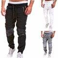 Sportswear dos homens Cintura Elástica Harém Basculador Sweatpant Hip hop Streetwear Plus Size XXXL de Couro do Motociclista Da Motocicleta Do Joelho Dança Pant