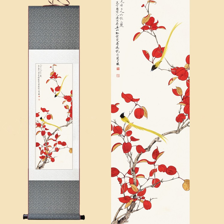 Chinoise soie aquarelle fleur et oiseaux érable rouge feuilles Feng Shui encre wall art image damas encadrée de défilement peinture sur toile