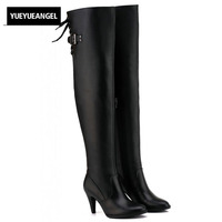 Large Size Genuine Leather Boots Round Toe Over Knee Boots High Heel Belt Buckle Knight Boots Fashion Strap Lace Up Womens Shoes