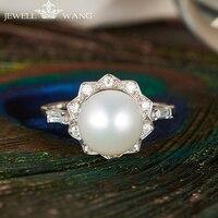 JEWELLWANG натуральный жемчуг кольца пресноводный стерлингового серебра 925 кольца для Для женщин подарок девушке Fine Jewelry 8 8,5mm Pearl Ring