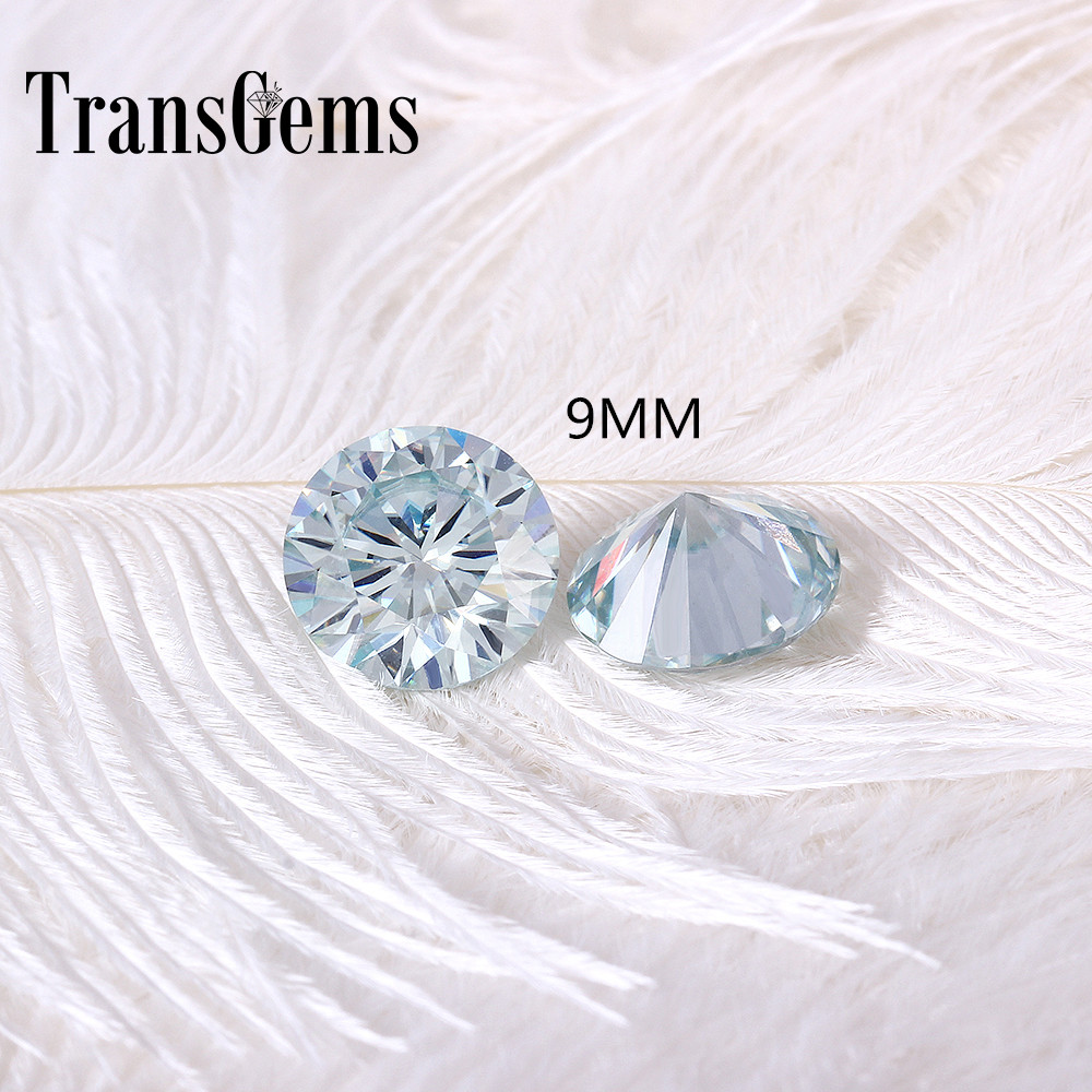 TransGems 9mm 3Carat Slight Blue Color Certified Man made Diamond Loose moissanite Bead Test Positive As Real Diamond 1pcs dominoes 1 blue diamond ne