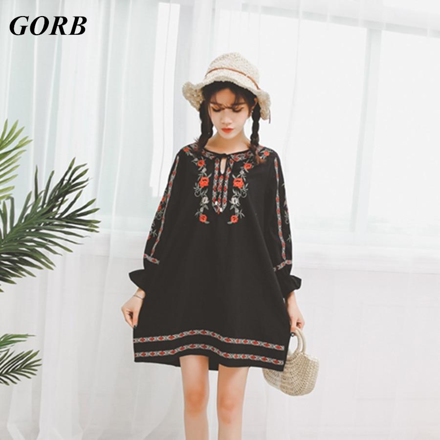 GORB 2017 Autumn Newest Hot Sale Bohemia Women Mini Dresses Embroidery High Waist Long Sleeve Loose Short Dress In Stock G9212