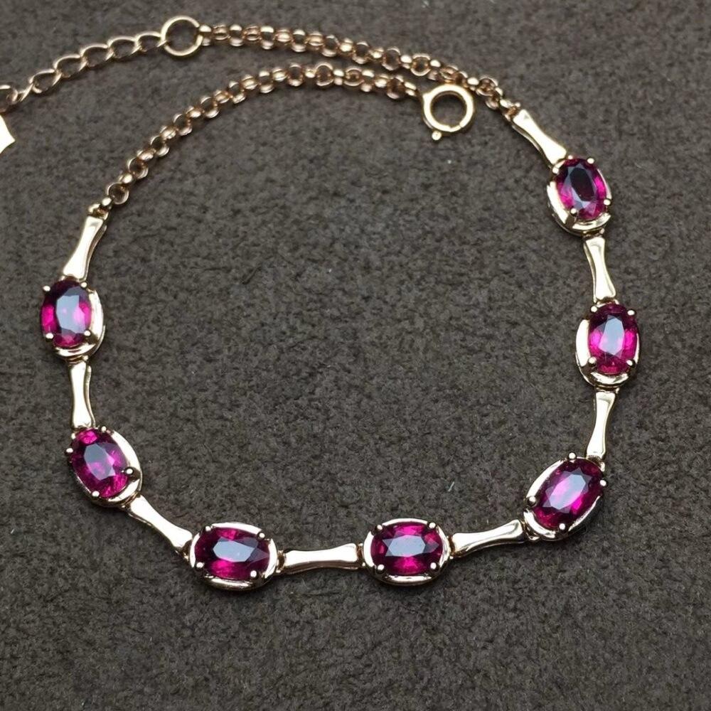 18 k or bijoux usine en gros classique de luxe naturel rouge tourmaline pierres précieuses bracelet réglable pour les femmes cadeau d'anniversaire