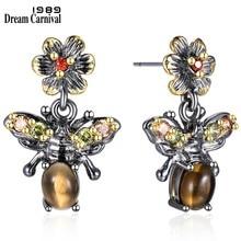 DreamCarnival 1989 yeni gelenler Vintage bal arıları görünüm küpe kadınlar için sıcak böcek moda olmalı noel hediyesi WE3798