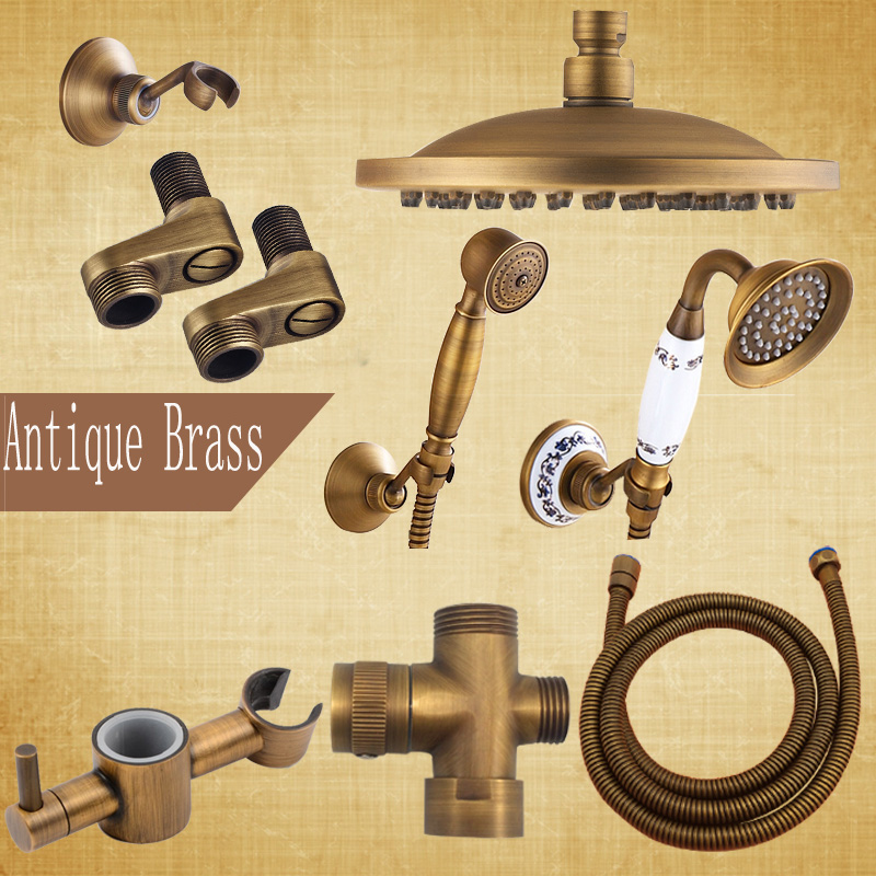 """Wholesale Bathroom Accessories 8"""" Brass Shower Head Antique Brass Shower Hose Hand Shower"""