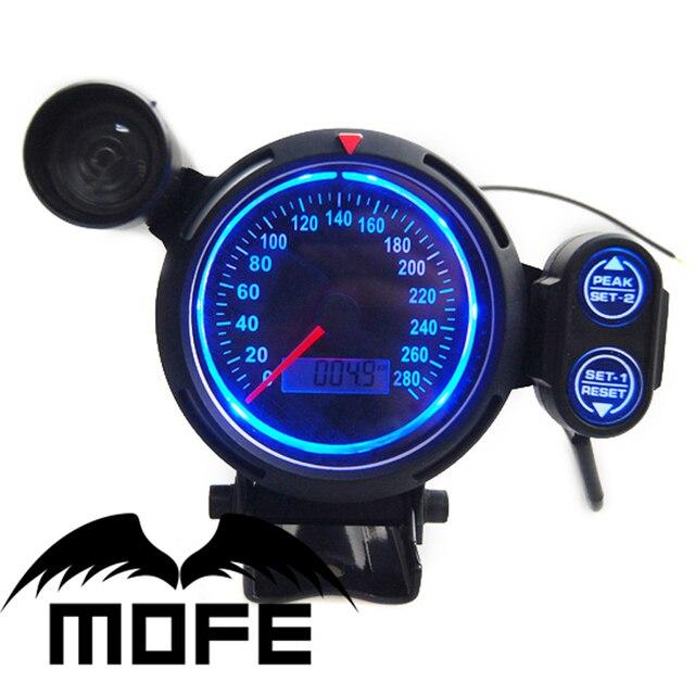 Original Logo Blue LED + Black LCD + Red Shift Light 80mm MPH Speedometer Gauge Meter