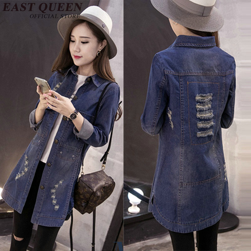 Women ripped denim   jacket   denim   jacket   for women long sleeve casual jeans coat women   basic     jacket   large size L-4XL AA2148 Q