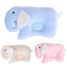 Newborn Coral Fleece Baby Pillows Elephant Soft Memory Pillow Protection for Flat Head Syndrome Baby Room Decoration