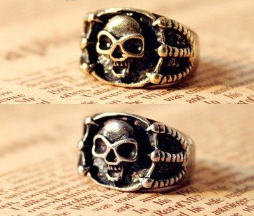 Fashion Hot Sale New Arrival  Unique Vintage Skull Claw Ring Two colors R282