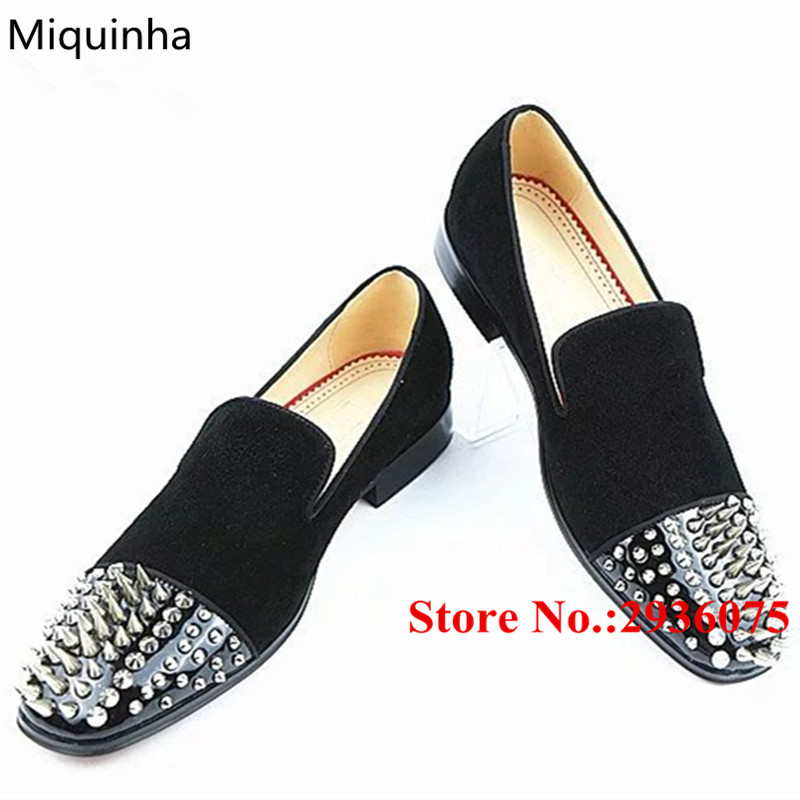 Man shoes Spikes Studded Black Patent Leather Suede Velvet Patckwork Mens Casual Flat Shoes Slip-On Loafers Dress Business Shoes black and bule suede red bottom luxury mens loafers new france brand slip on spikes shoes