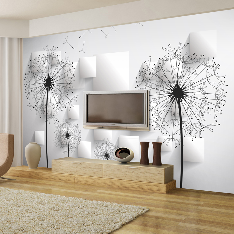 Customized Any Size Modern Design 3d Non Woven Dandelion