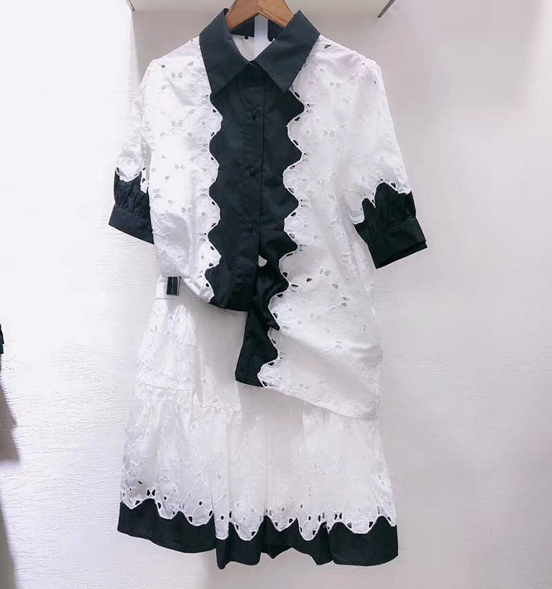 Комплект из двух предметов, женская летняя юбка, комплект с коротким рукавом, блузка и юбка, повседневный черно-белый женский костюм с юбкой