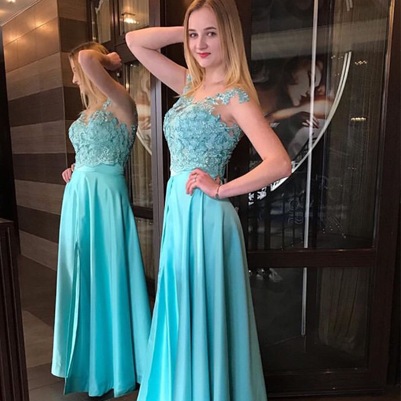 Turquoise   Prom     Dresses   Scoop Neck Cap Sleeves Long Formal Party Gowns Appliques Beaded Buttons Back 2019 Elegant Women   Prom   Gown