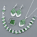 925 Sterling Silver Jewelry Sets Green Created Emerald White Topaz  Bracelets/Earrings/Pendant/Necklace/Rings For Women Free Box