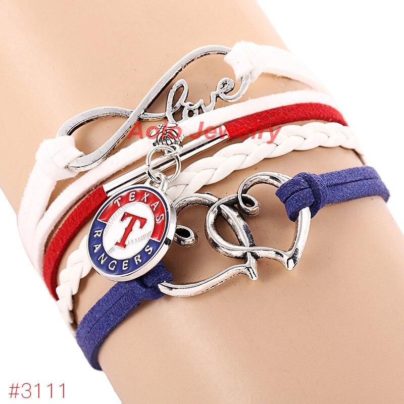 Infinity Love Texas Rangers Baseball Team Bracelet New Arrival Leather Bracelet Fans Jewelry 6Pcs/Lot ! Free Shipping!