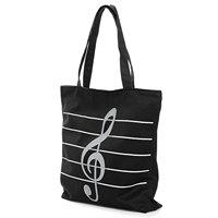 10 Pcs of (VSEN Hot Women Girls Casual Canvas Music Notes Satchel Tote Shopper Bag Shoulder Handbag black)