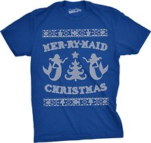 Special Bigaga Go Mer-Ry-Maid Christmas Funny Mermaid Ugly Sweater Men T-Shirt