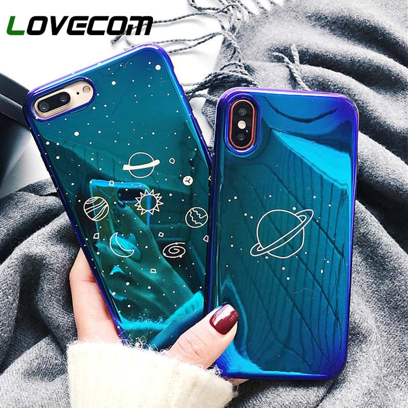 LOVECOM Universe Planet Case For iPhone XS XR XS Max X 8 7 6 6S Plus Retro Blu Ray Fashion