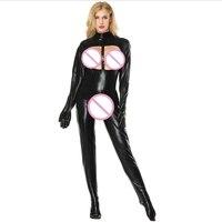 Plus Size S 5XL New Arrival Sexy Latex Catsuit Women Black Open Bust Bodysuit Cat Women Costume Open Crotch Jumpsuit