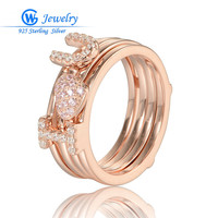 GW Fashion Jewelry I Love You Rings Jewelry 925 Sterling Silver Rose Gold Splittable Ring Jewelry for Women RIPY047H20