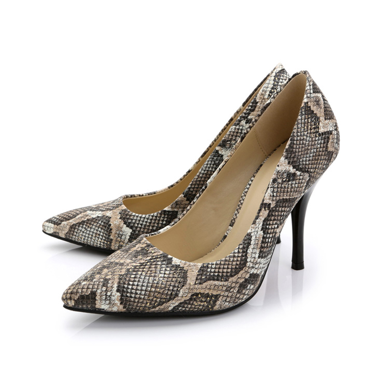 New Fashion Women Snakeskin Genuine Leather Sexy High Thin Heels Pointed Toe Ladies Pumps Slip On Dress Shoes Plus Size:33-41 new 2017 spring summer women shoes pointed toe high quality brand fashion womens flats ladies plus size 41 sweet flock t179