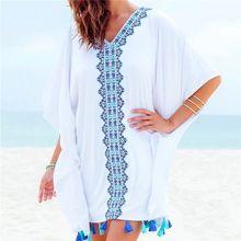 Embroidery Cotton Bathing suit Cover ups Tunics for Beach Robe de Praia Swim up Swimwear Women Beachwear